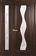 Комплект дверей двустворчатый Волна с сатином и Р2 от Новый стиль (венге new, зол.ольха, каштан, ясень)