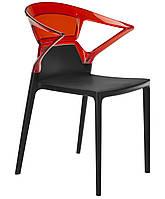 Кресло Ego-K сиденье черное верх прозрачно-красный