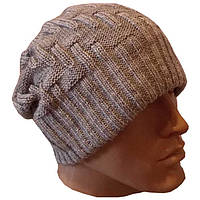 Вязаная мужская шапка-носок цвета маренго