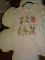 Итальянская футболка с цветами и стразами дев. бежевый 95%котон,5%эластан 12541586 Melby Италия 104(р)