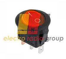 Переключатель круглый с подсв. MIRS-101-8C ON-OFF, 3pin, 6,5A, 220V, красный (KCD105)