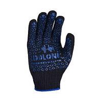 Перчатки рабочие с ПВХ-рисунком, черные (648) ТМ DOLONI / Украина