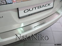 Хром накладка на задний бампер на Субару Оутбек с 09> (нерж.) без загиба NataNico.