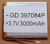 Литиевый элемент питания 397084 3,7V (фактический размер 39х66х82mm)  3000mAh