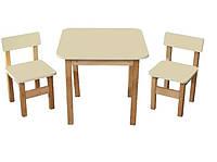 ЭКО набор стол+2 стульчика ТМ Финекс, ваниль
