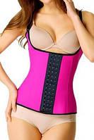 Утягивающий розовый фитнес корсет на талию для спорта и тренировок с лямками