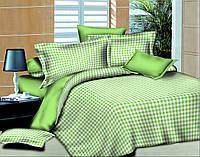 Полуторный комплект постельного белья Клеточка Салатовая