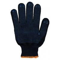 Перчатки рабочие с ПВХ точкой, черные арт. 8611  (6 нитей, вес-80г.) плотные, фото 1