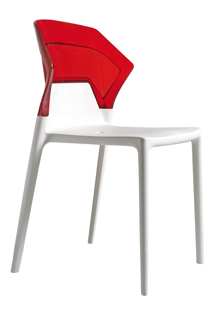 Стул Ego-S сиденье Белое верх Прозрачно-красный (Papatya-TM)