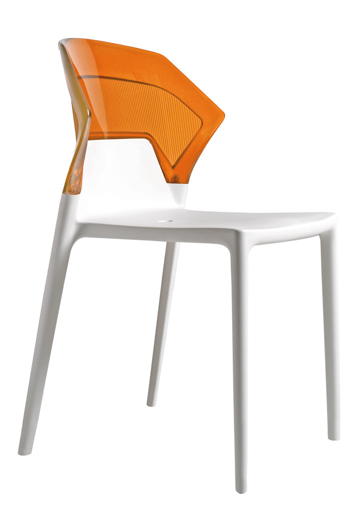 Стілець Ego-S сидіння Біле верх Прозоро-помаранчевий (Papatya-TM)