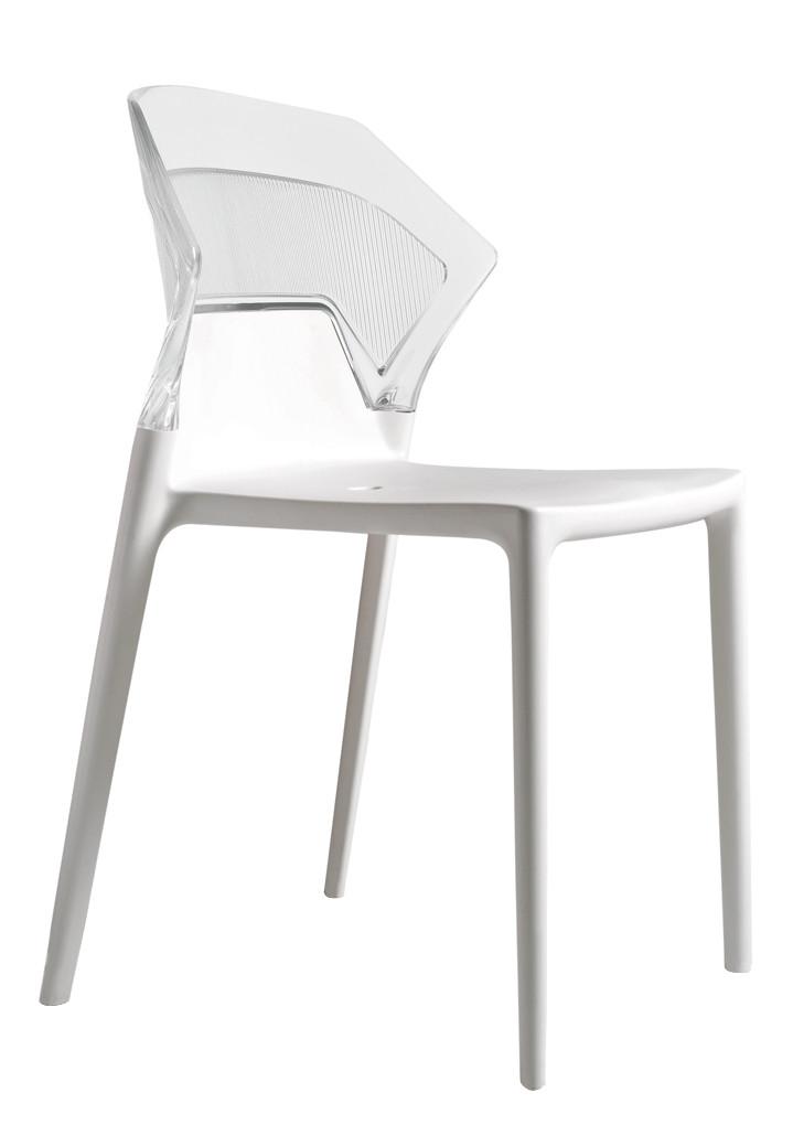 Стул Ego-S сиденье Белое верх Прозрачно-чистый (Papatya-TM)
