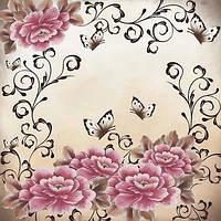 Коллекционная салфетка для декупажа Mamiko Yamashita Розовые пионы и бабочки 5168