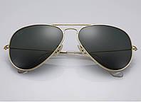 Очки Ray Ban 3025 3026 Aviator Black стекло комплект, копия солнцезащитные, фото 1