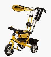 Детский трехколесный велосипед с ручкой Mars Mini Trike LT950 желтый