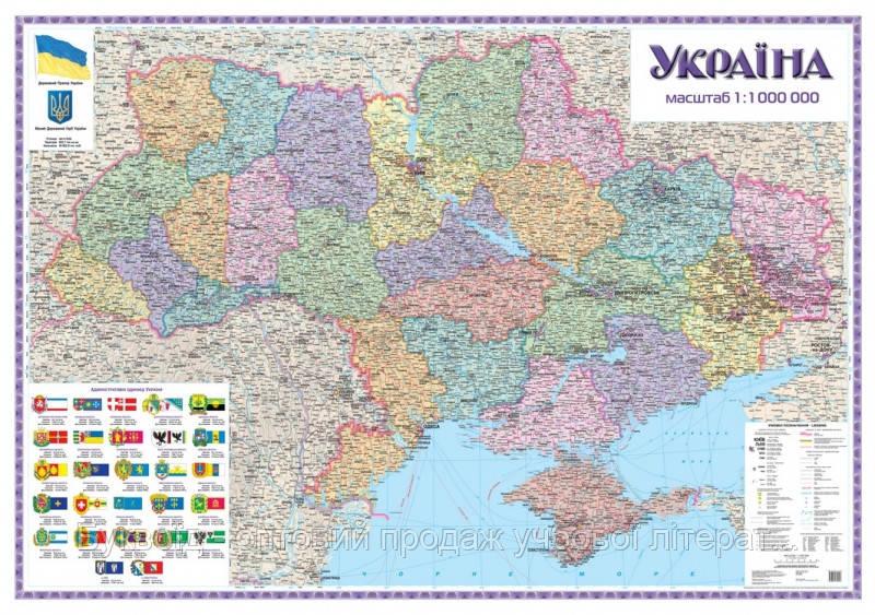 Стена Україна Політична 1:1 000 000 картон 105*148
