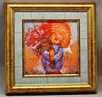 """Картина на керамике в раме """"Ангел с букетом - все лучшее для тебя!"""""""