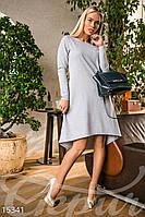 Стильное асимметричное женское платье свободного кроя с бусинами рукав длинный двух нить