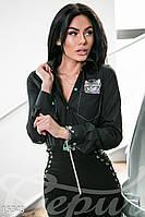 Стильная классическая женская рубашка с вышивкой рукав длинный коттон