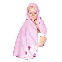Полотенце детское с капюшоном, розовое,Smart