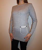 Молодежная женская кофточка-туника 2016 (серый)