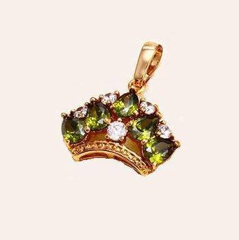 Кулон Корона, зеленый цирконий, р.22мм*20мм