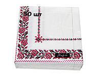 Салфетки бумажные Марго вышивка - цветы 50 шт. (33х33 cм)