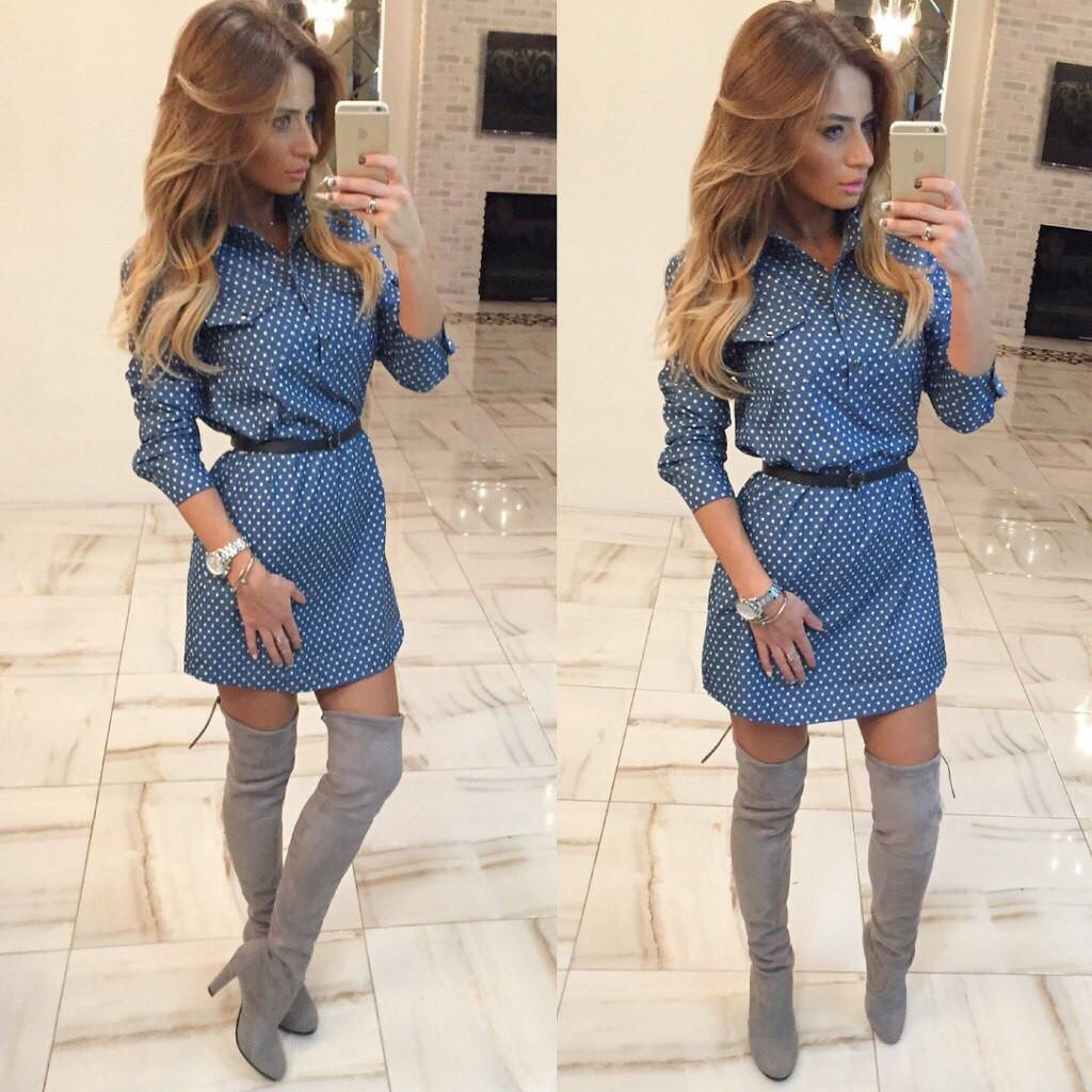 990b799bbe7 Женское стильное платье (джинс-коттон)