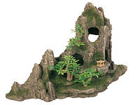 Декорация для аквариума Trixie Скала с пещерой и растениями, 27 см.