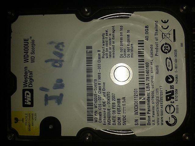 "Жесткий диск Western Digital 40Gb, WD400UE, IDE 2,5"", для ноутбука"
