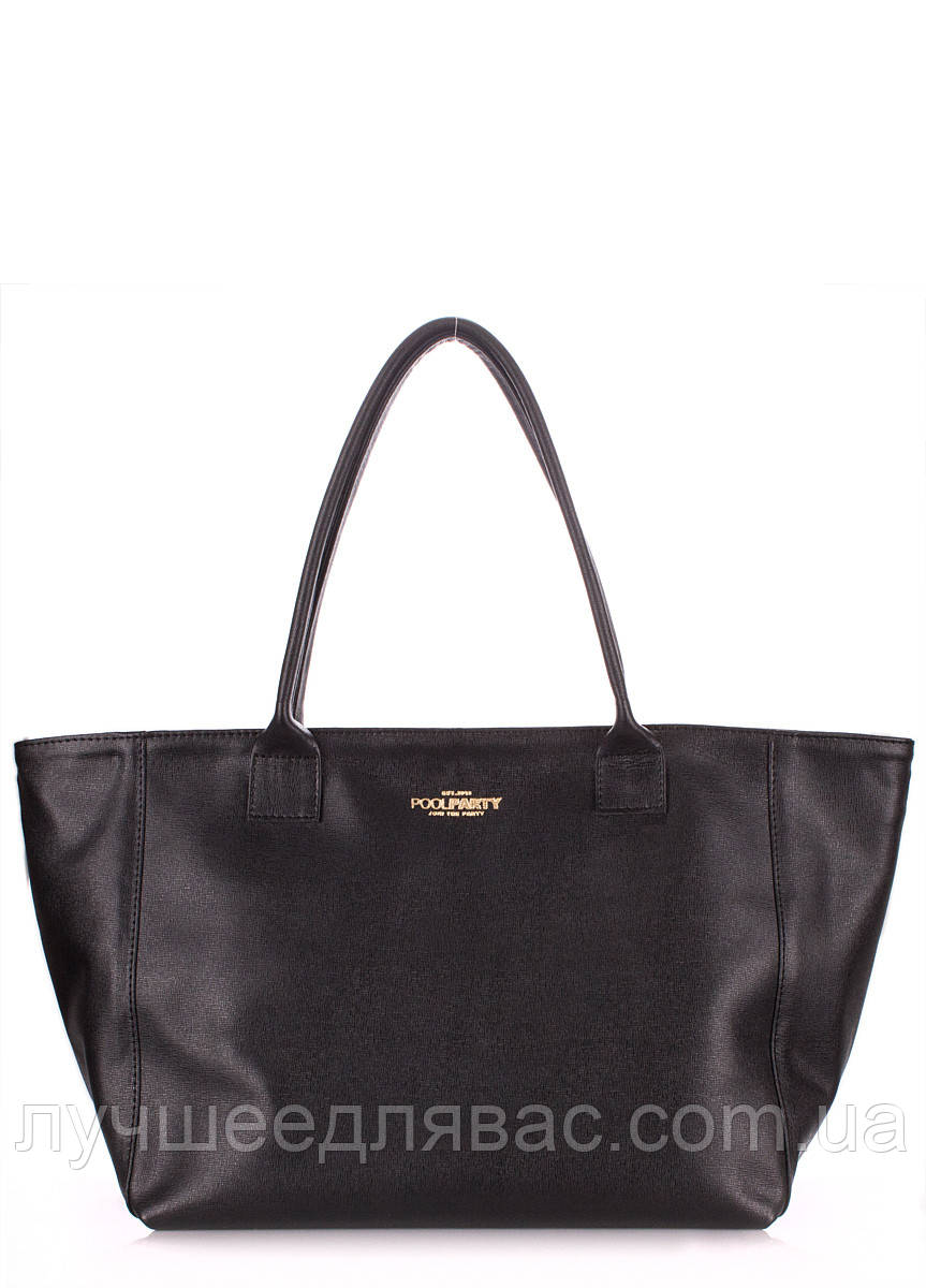Кожаная сумка POOLPARTY desire safyan black, фото 1