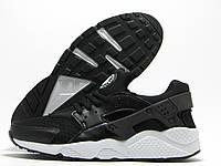 Кроссовки мужские Nike Air Huarache черные с белой подошвой (найк эир хуарачи)