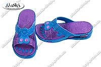 Женские шлепанцы сине-фиолетовые (Код: ПЖ-26)