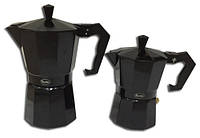 Кофеварка гейзерная (алюминий) черная со сменной прокладкой на 3 чашки