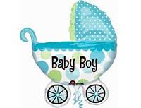 ФИГУРА БОЛЬШАЯ Коляска детская голубая «Это мальчик!», надута гелием.