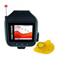 Беспроводной эхолот Fish Finder для рыбалки с 1.77 дюймовым монитором в виде наручных часов, дальностью до 60