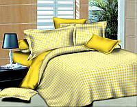 Евро комплект постельного белья Клеточка Желтая