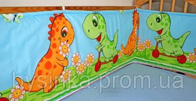 """Защита в кроватку новорожденного- """"Дино зеленый"""""""