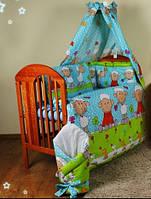 """Защита в кроватку новорожденного- """"Барашек на синем фоне"""", фото 1"""