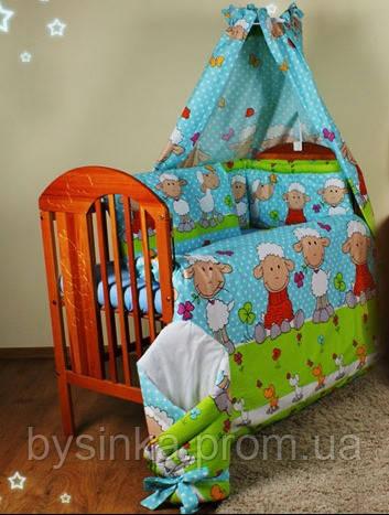 """Защита в кроватку новорожденного- """"Барашек на синем фоне"""""""