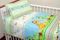 """Комплект постели для детей из 3-ед- """"Дино зеленый на синем фоне"""""""