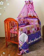 """Комплекты в кроватку для новорожденныхиз 3-ед- """"Барашки на фиолет. фоне"""""""