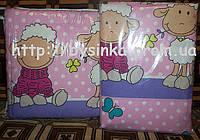 """Бортики и постелька в кроватку новорожденного-""""Барашки на фиолет. фоне"""""""