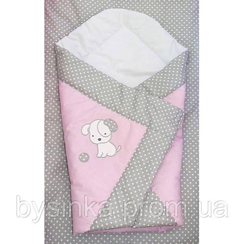 одеяло на выписку, плед -конверт- Песик вышивка