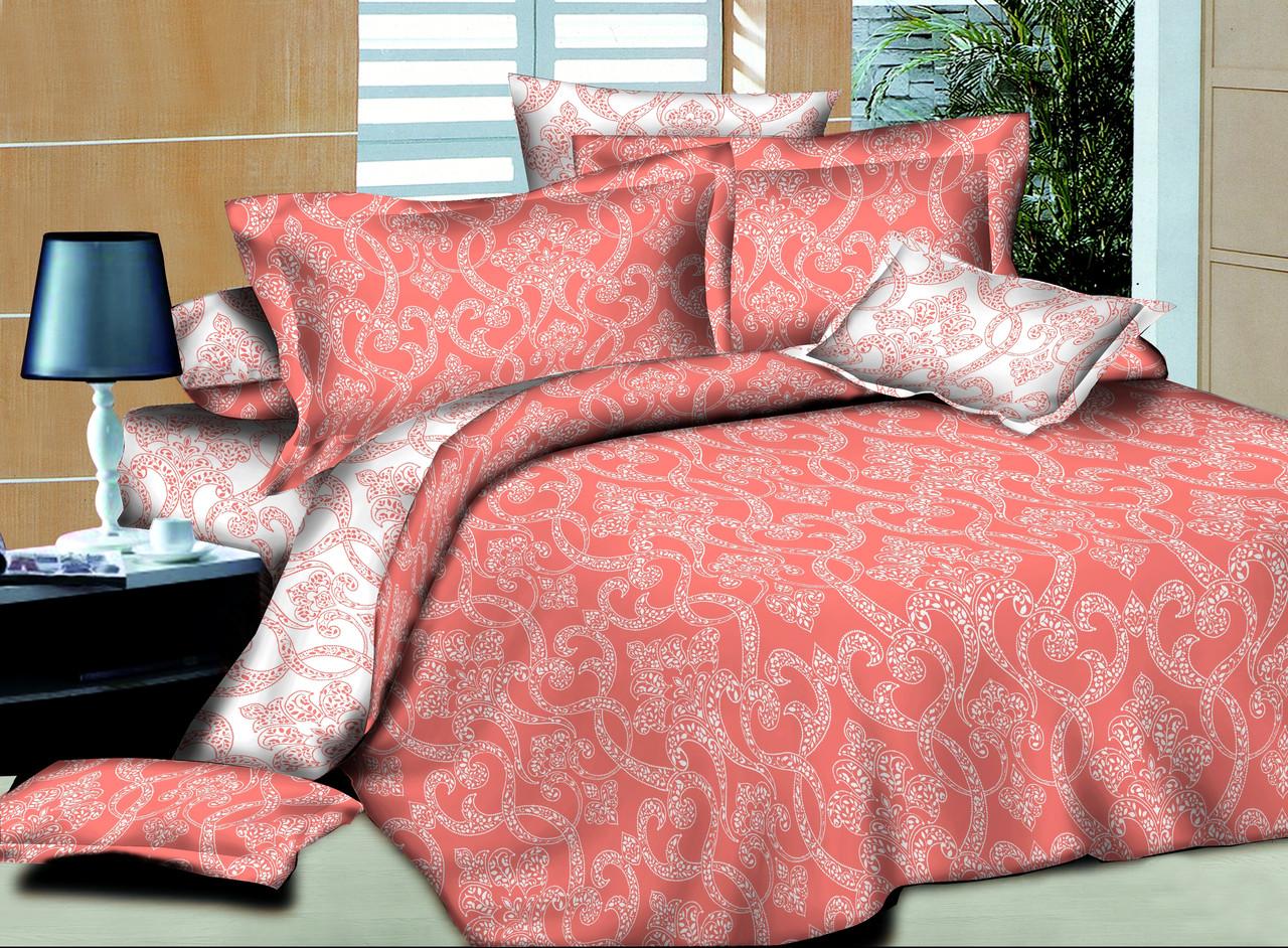 Евро комплект постельного белья Ажур Коралловый