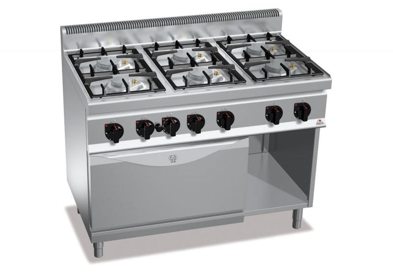 Газовая плита 6-ти конфорочная с духовкой (4 кВт) Bertos G7F6+FG1