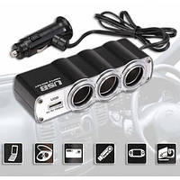 _Тройник WF-0120 в прикуриватель 3 гнезда+USB