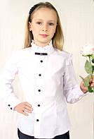 Нарядная школьная блуза с длинным рукавом,брошью и оборками.