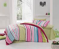 Постельное бельё 200х220 ранфорс Majoli  Bahar teksil, Vanessa v1 Fusya, яркий полосатый.