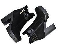 Ботинки женские замшевые на тракторной подошве. Зимний вариант, фото 1