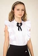 """Белая школьная блузка с двойными воланами и брошью бантом """"А5027"""""""